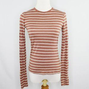 Vince grey and rust red striped viscose knit tee